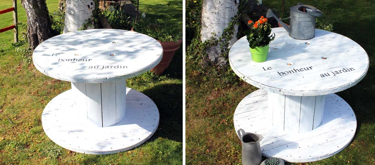 Faites-vous une table de jardin avec un touret – Salon de jardin récup et cosy – 18h39.fr