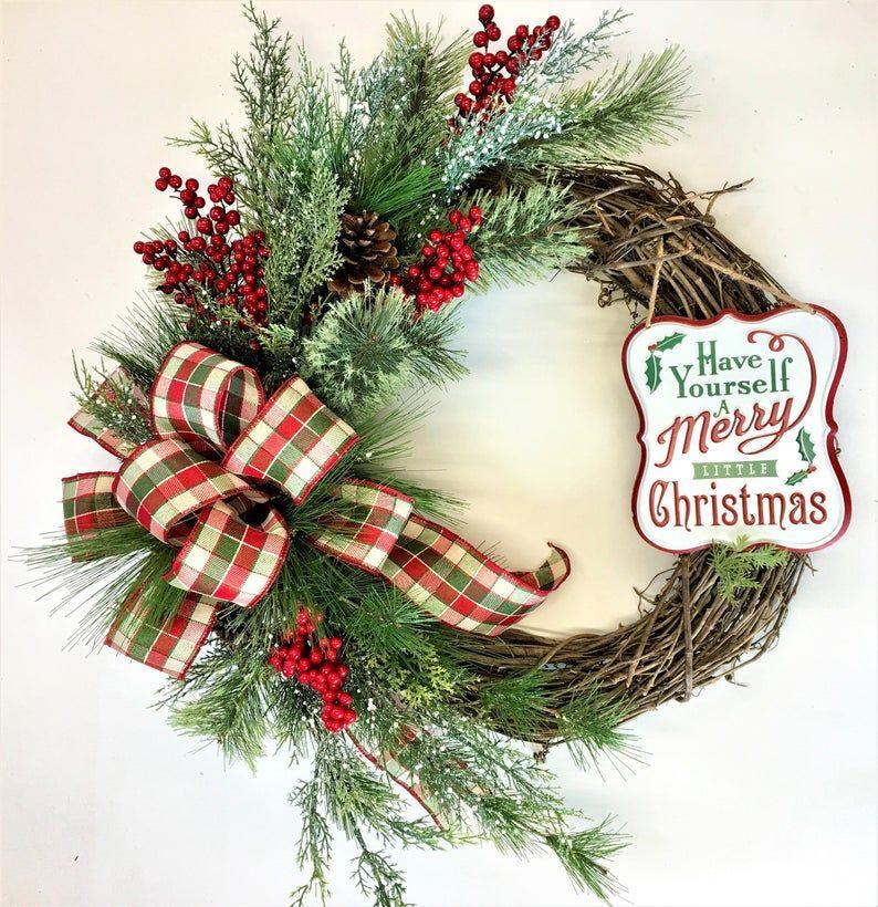 Christmas grapevine wreath farmhouse