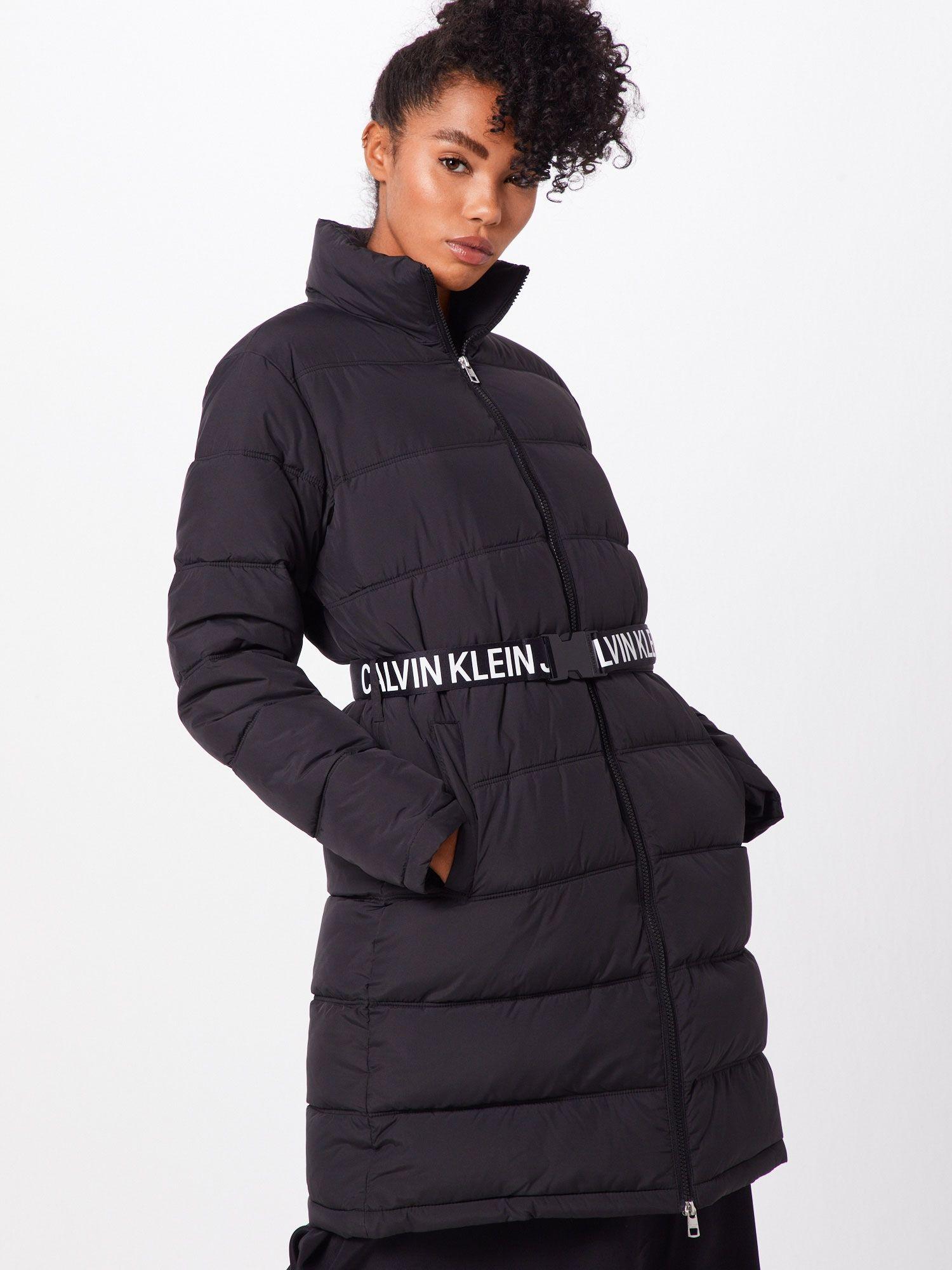Calvin Klein Jeans Mantel Long Puffer With Waist Belt Damen Schwarz Grosse Xl Models Wintermantel Und Mantel