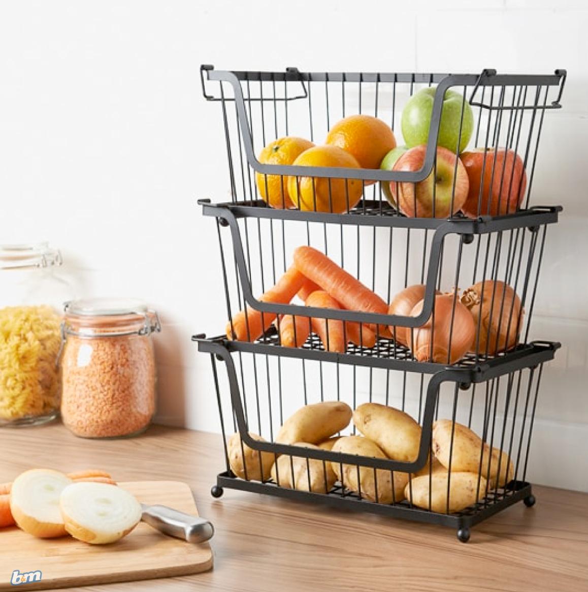 Stackable Basket in 2020 Kitchen counter storage, Fruit