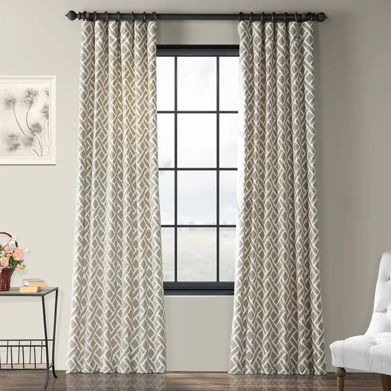 Berumen 100 Cotton Geometric Room Darkening Rod Pocket Single Curtain Panel Panel Curtains Printed Cotton Curtain Curtains