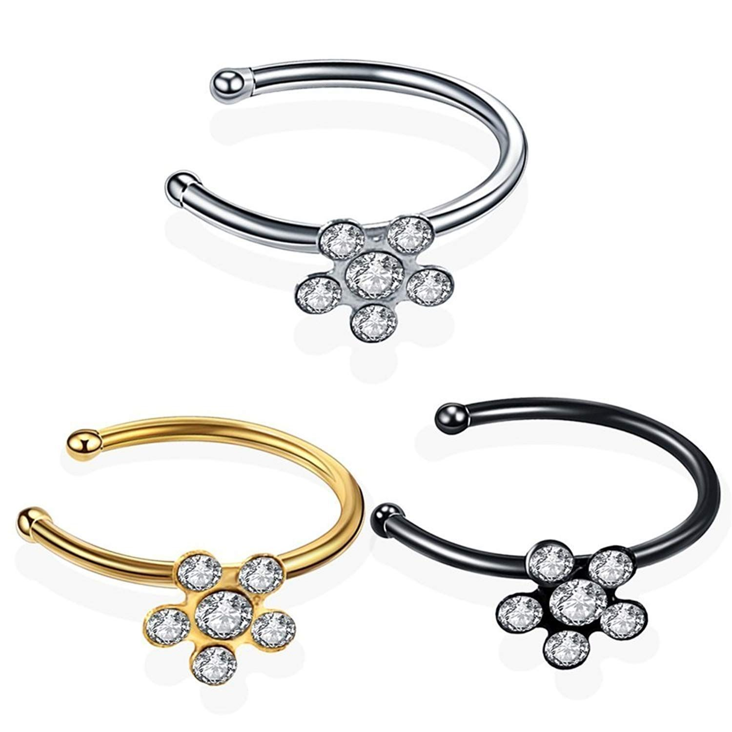 Crust around nose piercing  Zhang Trading Co Ltd PCS Set Nose Stud Open Hoop Rings with