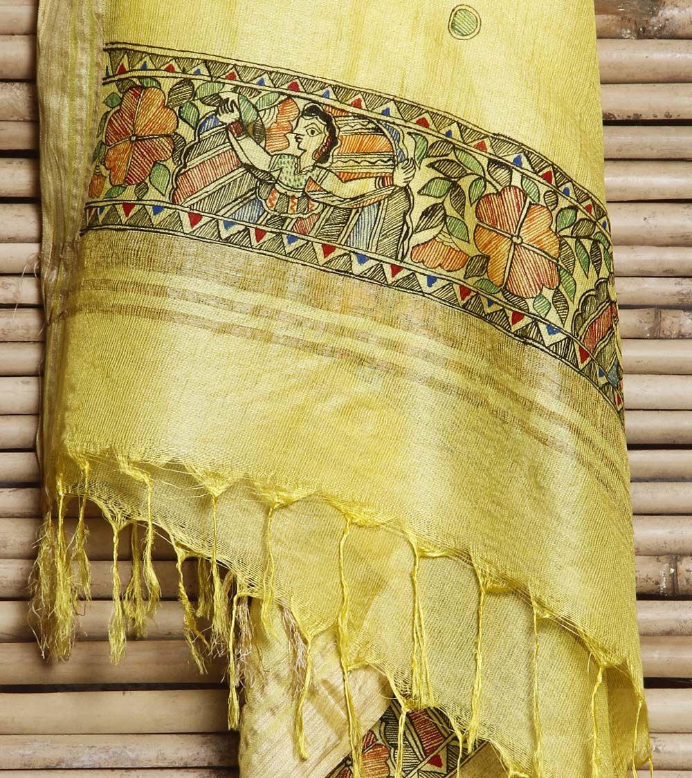 Yellow Cotton Silk Dupatta With Hand Painted Madhubani   madhubani ...