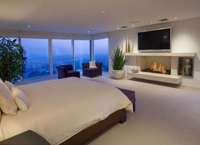 modern bedroom with tv. World Of Architecture: Hollywood Villas: Modern Multi Million Mansion On Sunset Strip, California Bedroom With Tv O