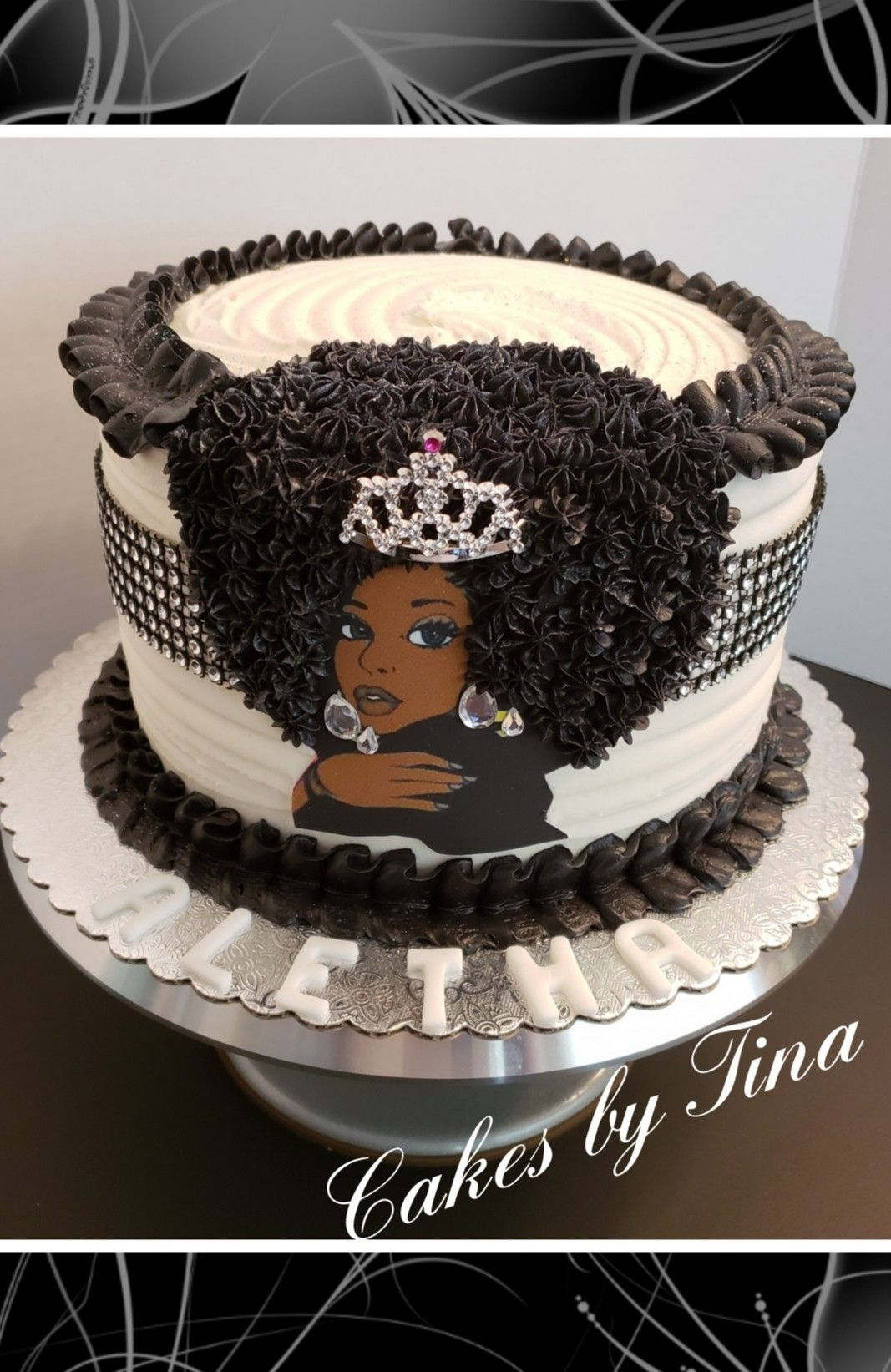 Remarkable Afro Diva Cake Black White W Bling Diva Birthday Cakes Funny Birthday Cards Online Alyptdamsfinfo