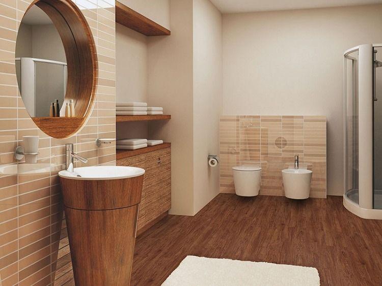 Carrelage salle de bain imitation bois u2013 34 idées modernes - meuble salle de bain en chene massif