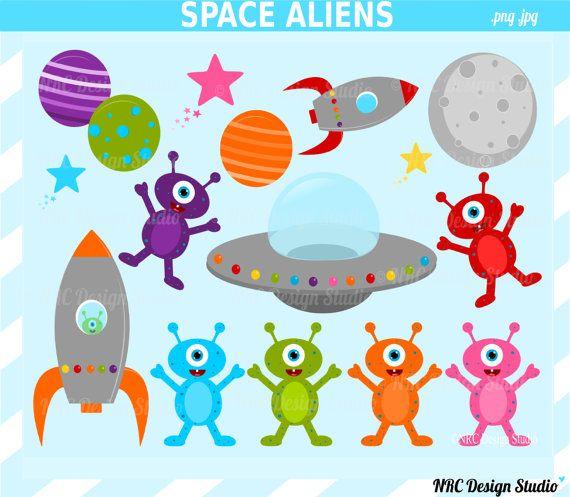 Space Aliens Clip Art - Outer Space Clip Art - Digital Alien Monsters Clipart - Aliens, Spaceship, Rocket, Planets, Stars, Moon