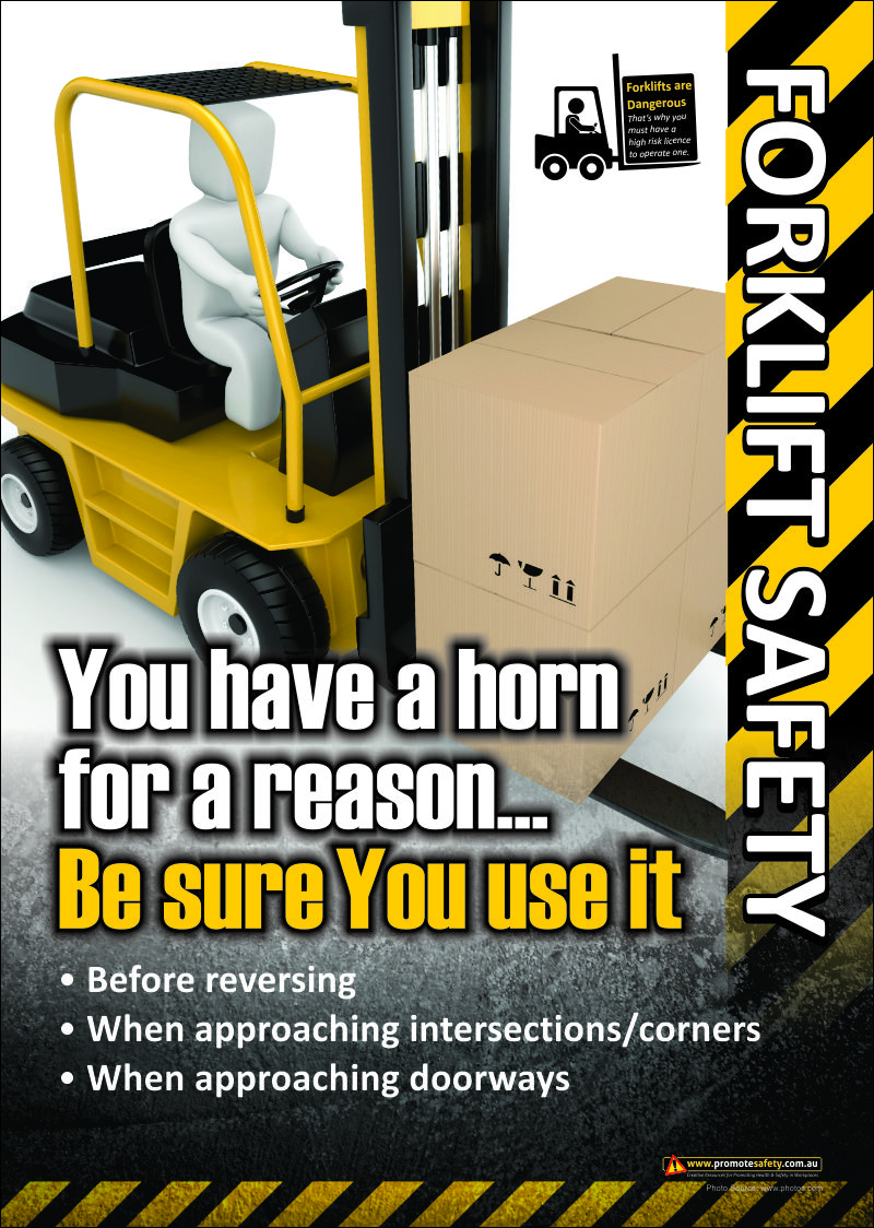 Forklift Safety Poster use your horn. Santé, Sécurité