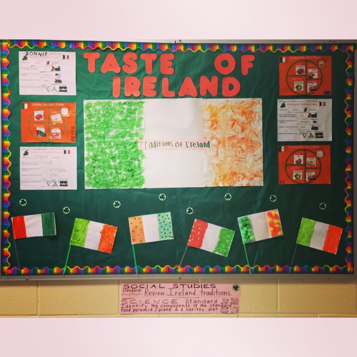 Ireland traditions with multi sensory flags and nutrition plates bulletin  board for March