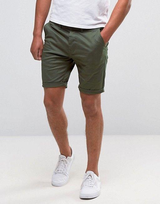 f3a5e51624 DESIGN skinny chino shorts in dark khaki | Dapper | Skinny chinos ...