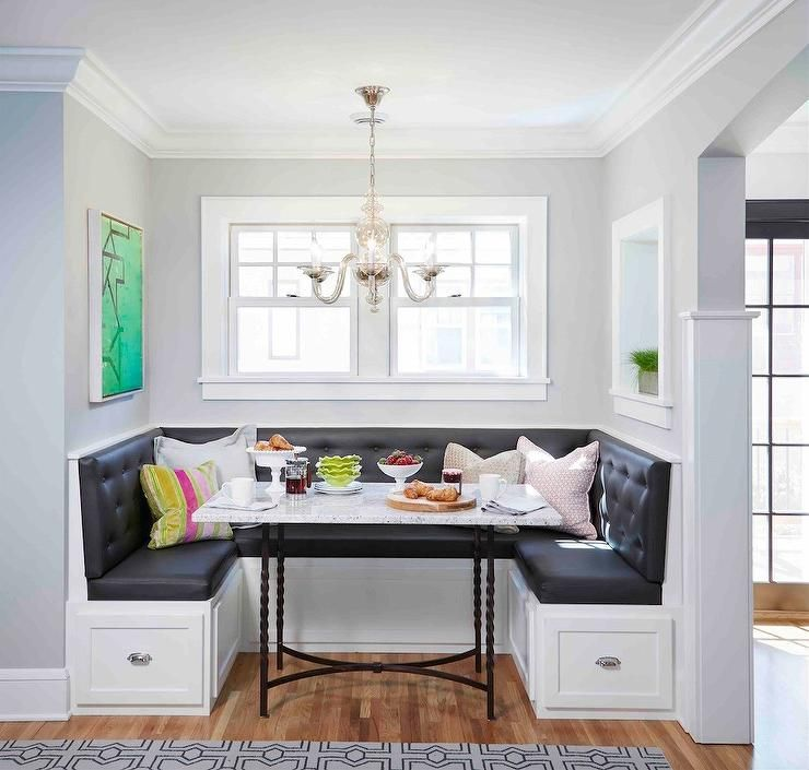 Kitchen Nook Curtains: Wall Paint Color Is Benjamin Moore Harbor Gray. Martha O