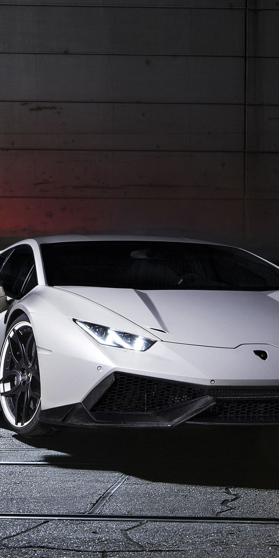 White, sports car, Lamborghini Huracan, 2018, 1080x2160