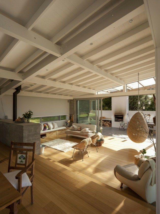 Großartig Haus Pultdach Schrägdecke Wohnzimmer Modern Geräumig