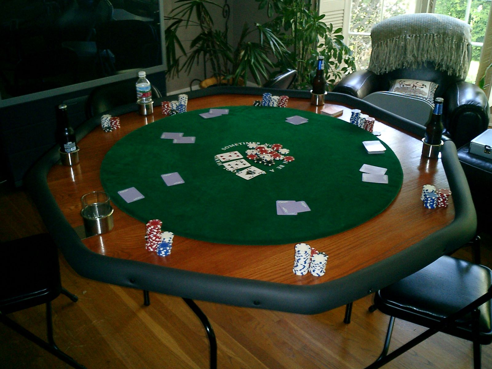 DIY your own poker table, this wouldn't be too hard either