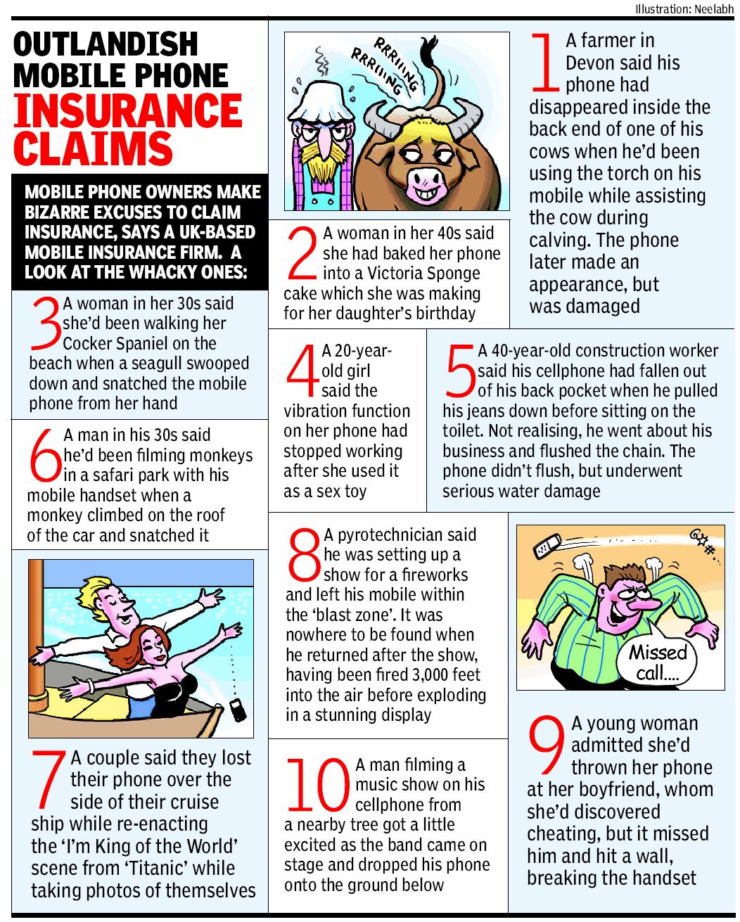 Outlandish Mobile Phone Insurance Claims Health Insurance Humor Insurance Health Education Lessons