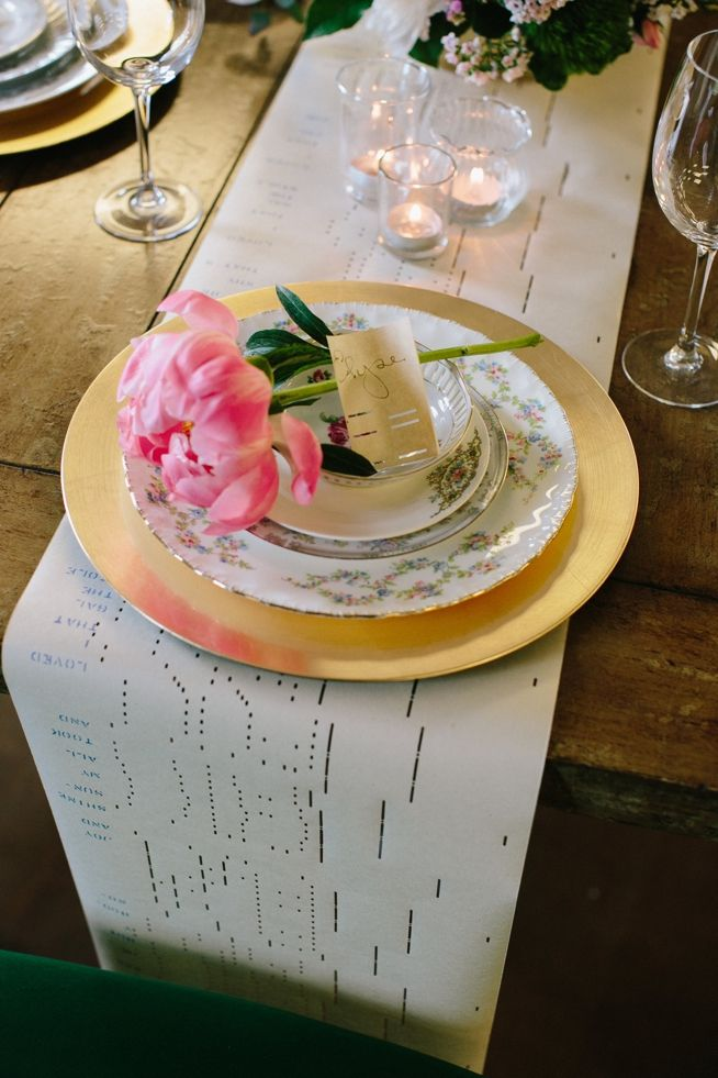 Piano Scroll Table Runner | A Charleston Bride | CarolineRo Photography | 428 Main Vintage Rentals