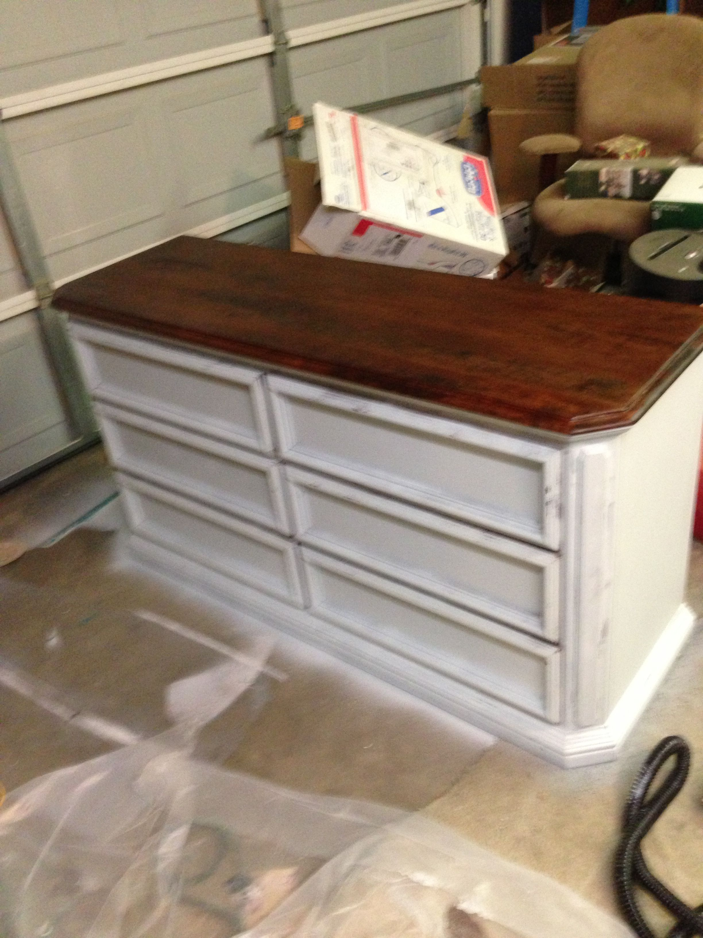 Dresser. French gray distressed with dark walnut stain on top.