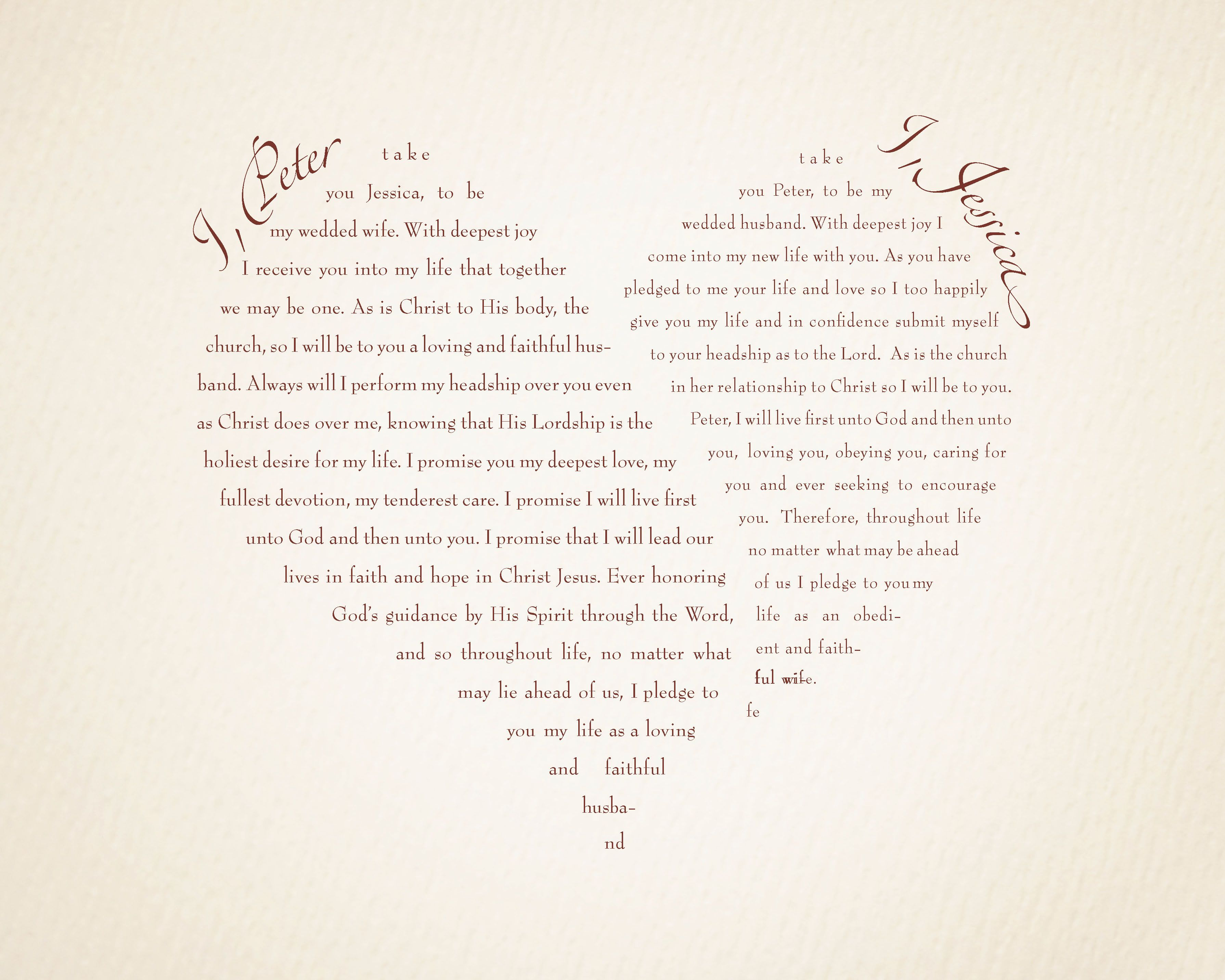 Verse Wedding Vows | This was designed for us by Tony Beninate ...