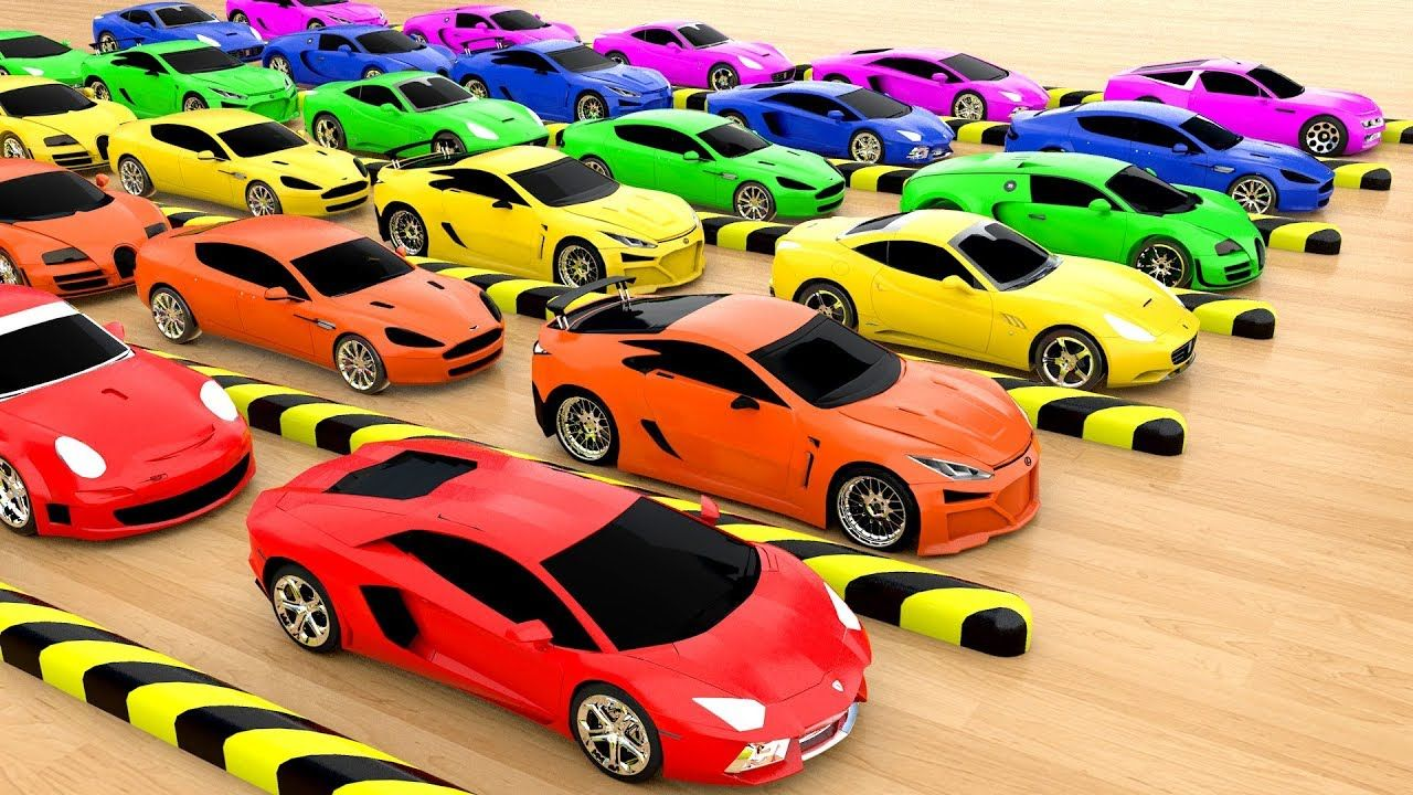 Colors for children to learn with sports cars hot wheels colorballs