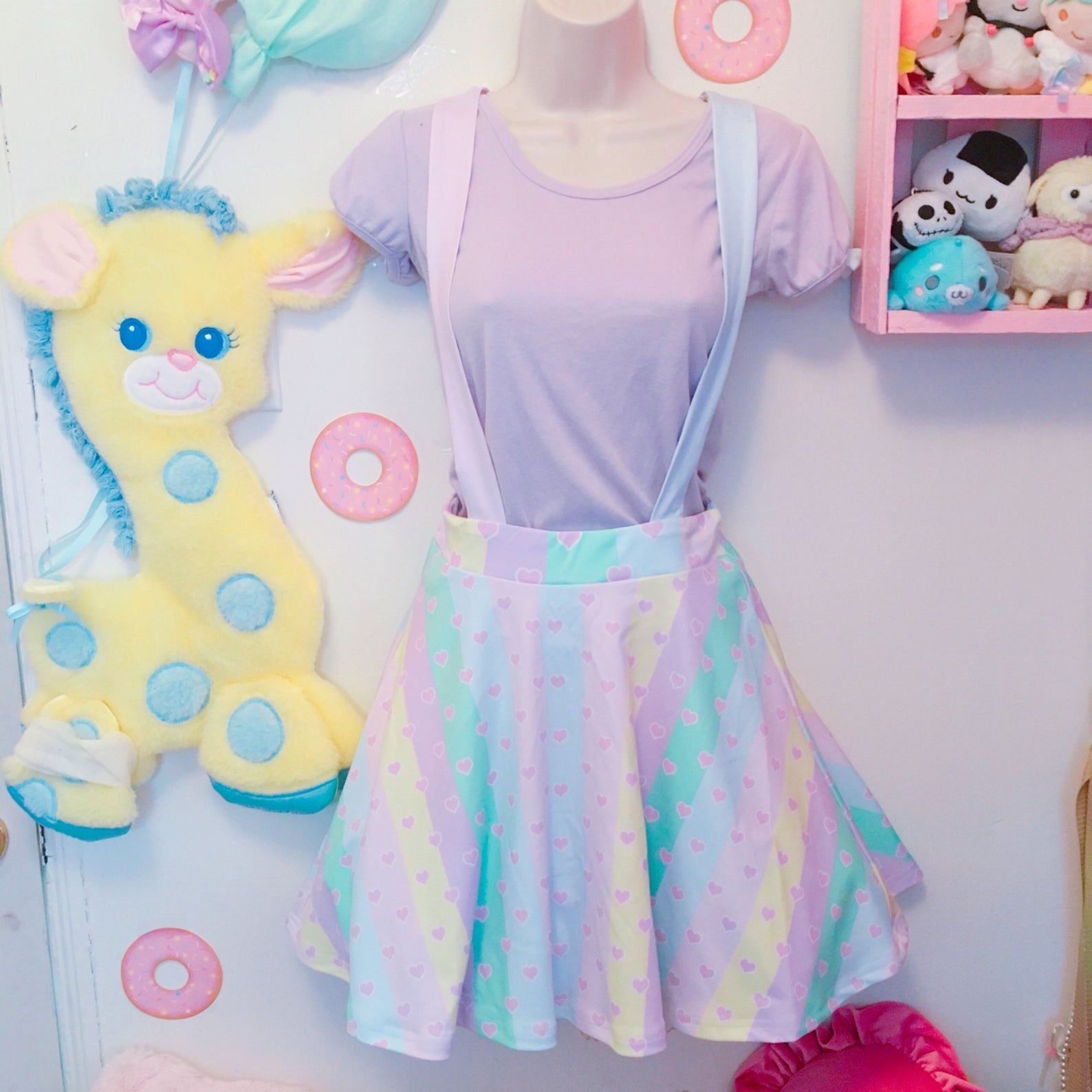 Pastel Rainbow Stripe Heart Yume Kawaii Suspender Skirt, Pastel Skirt, Fairy Kei Skirt, Kawaii Skirt