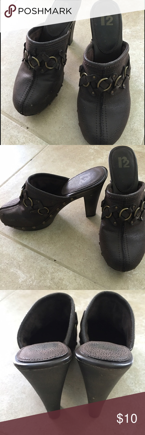 R2 brand brown clogs in dark brown Like new only worn a few times , dark brown with fleece lined , 3 inch heel , R2 brand . R2 Shoes Mules & Clogs