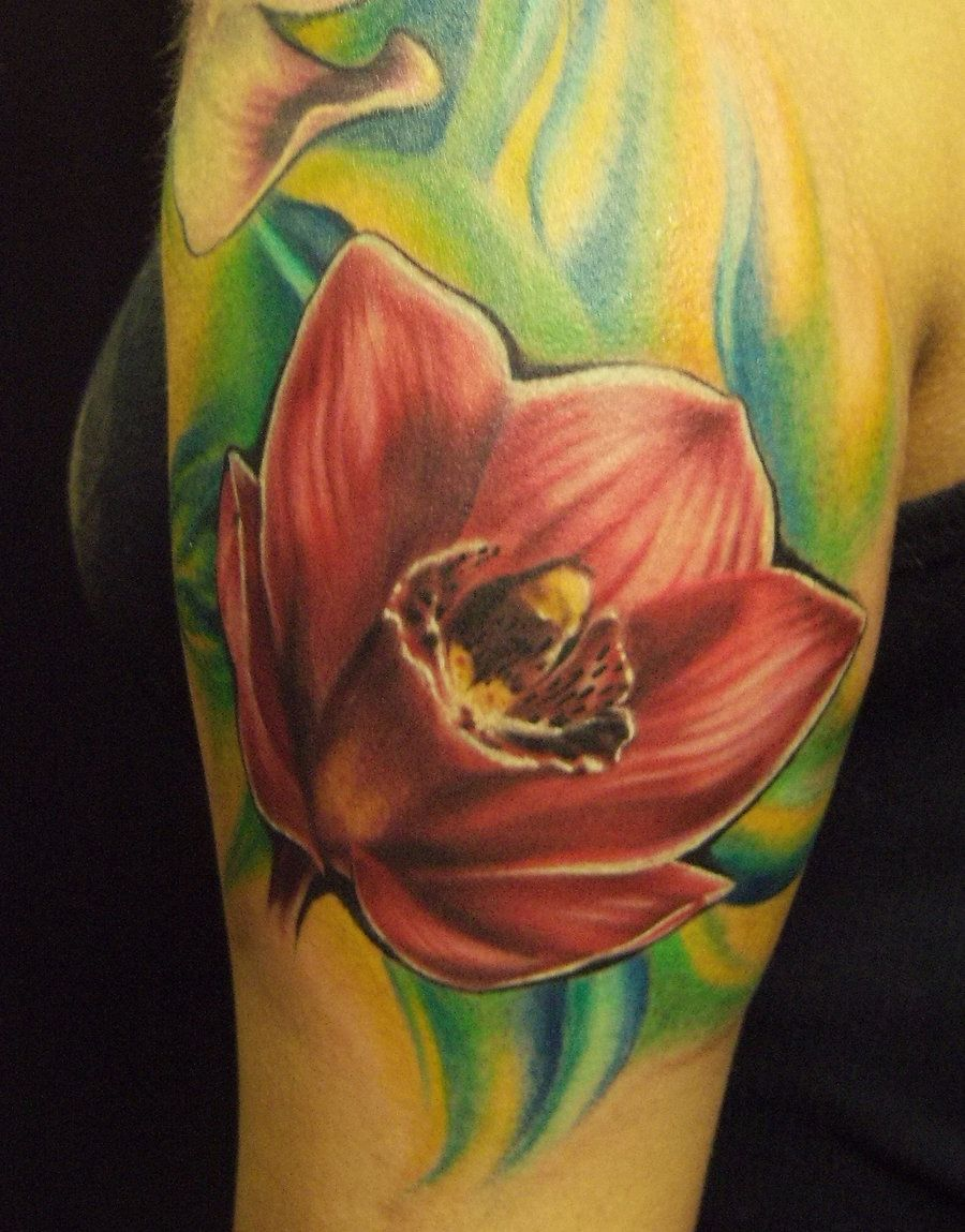 Red Orchid tattoo by Orchid