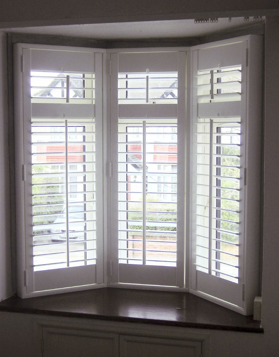 bay window interior wooden window shutters from long. Black Bedroom Furniture Sets. Home Design Ideas