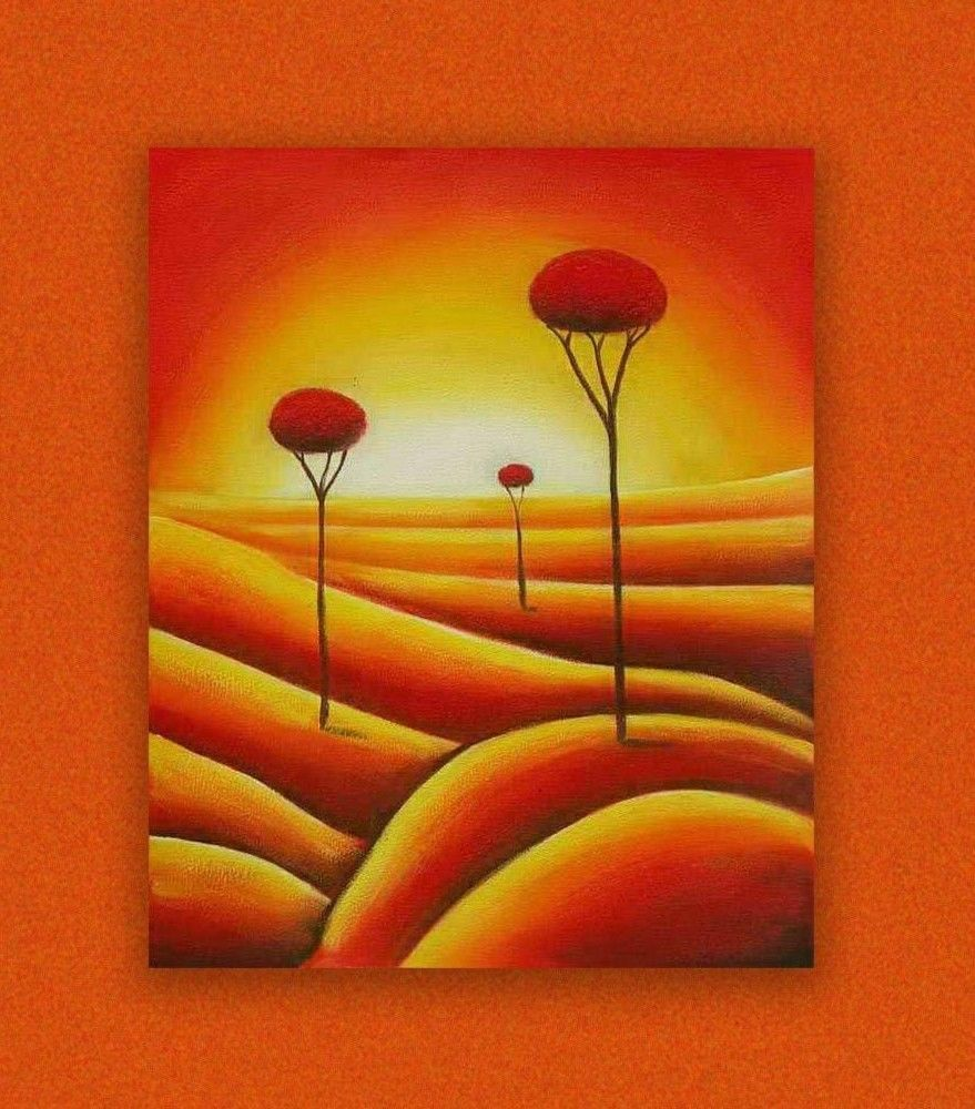 NO FRAME) LARGE THREE GLORIOUS RED TREES SUNSET OIL PAINTING ...