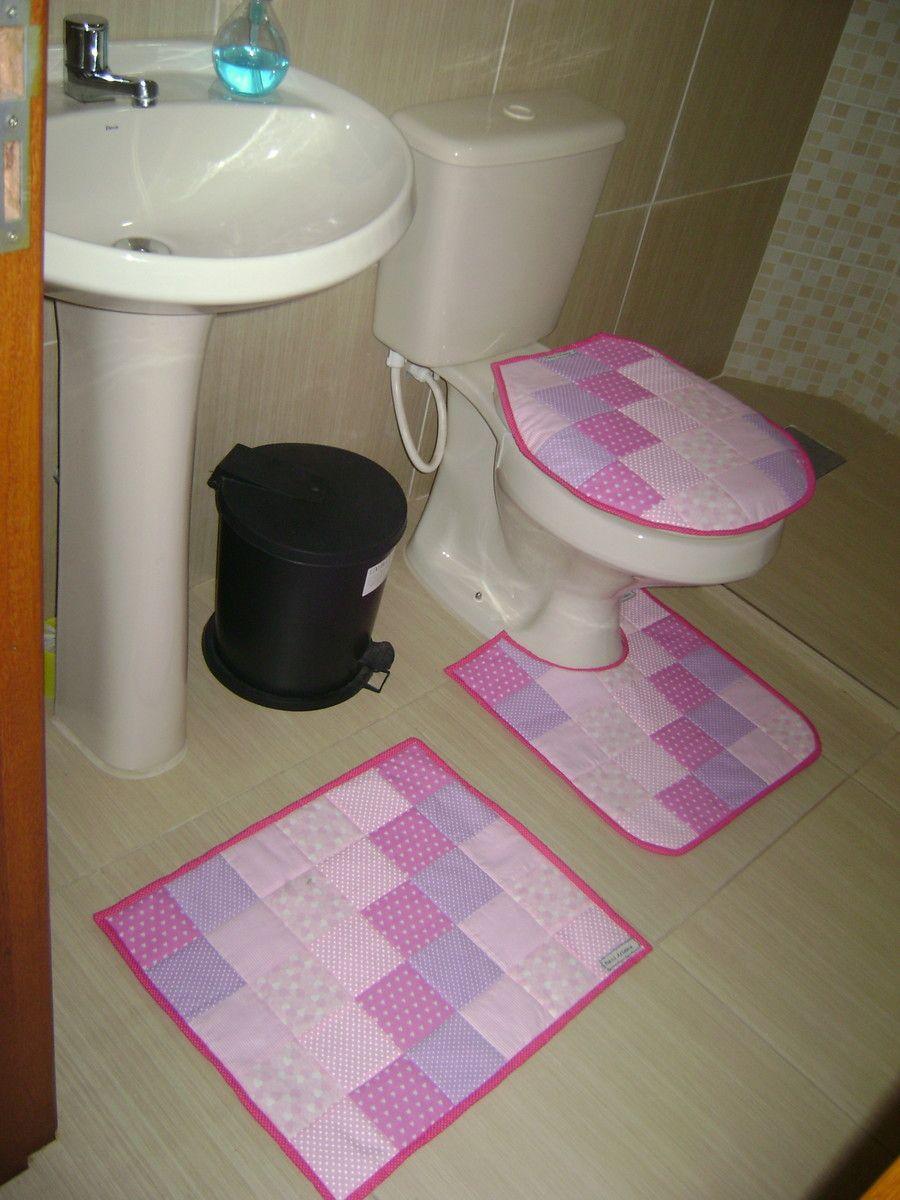 Jogo Rosa Pra Banheiro Tapete Para Banheiro Retalhos De Tecido