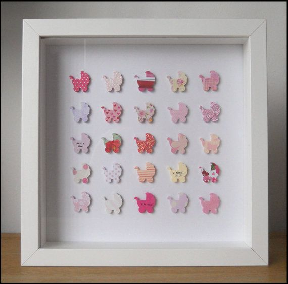 Personalised Christening Box Frame Picture Keepsake - Pink Stars ...