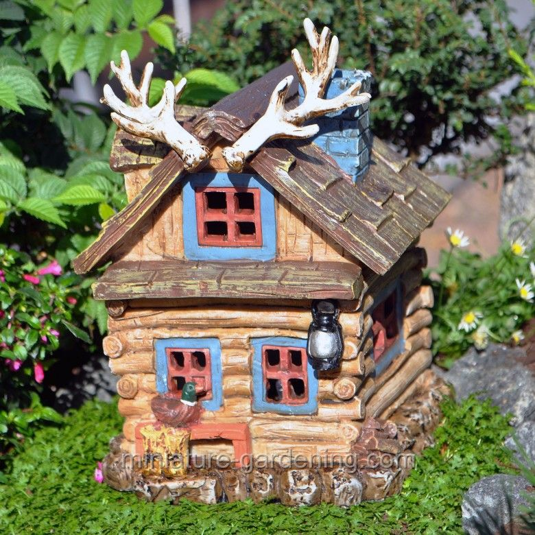 Miniature Gardening - Hunting Shack with Lights #fairy  #garden