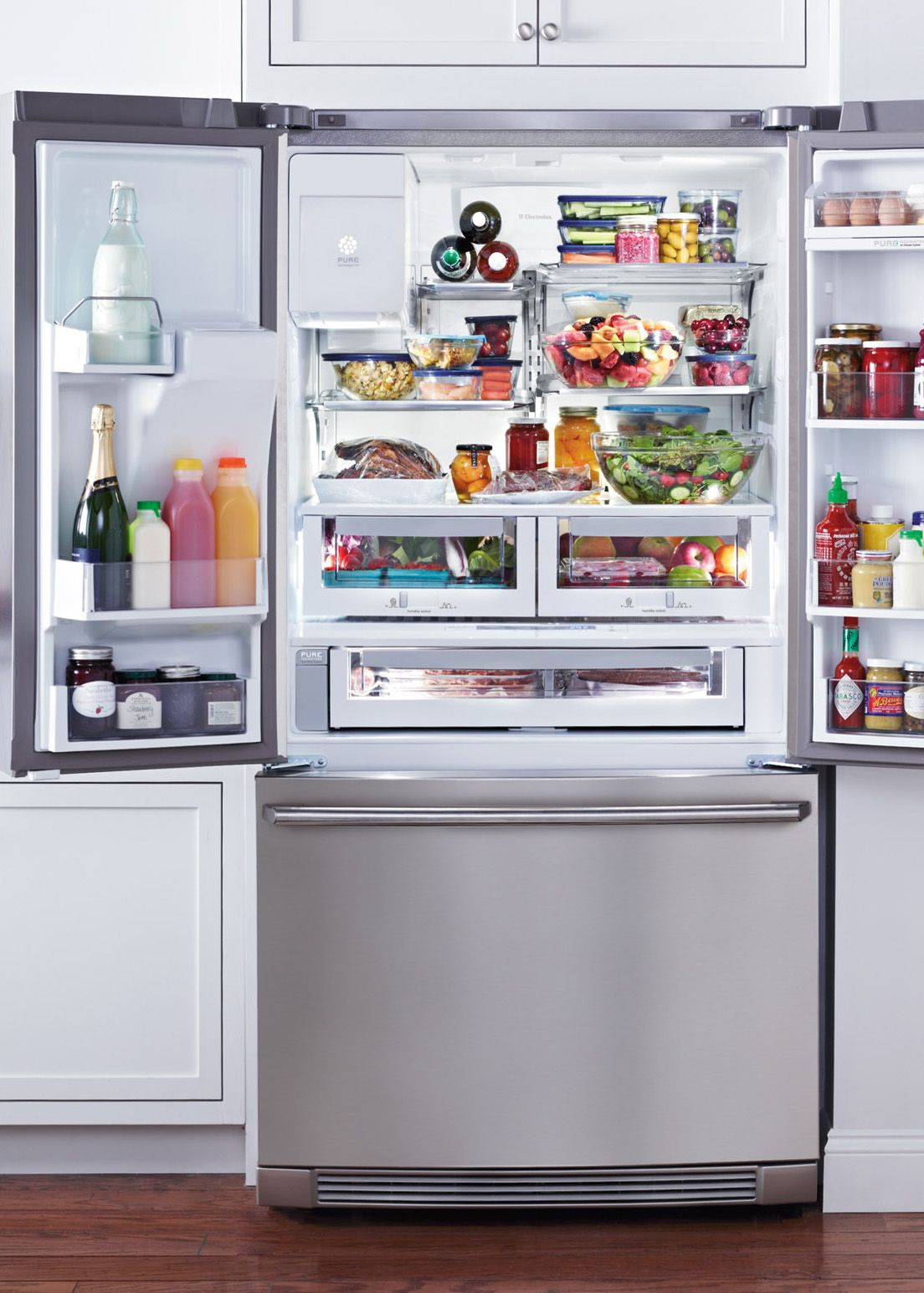 Electrolux refrigerators keep everything from fine cheese to fresh veggies stored at just the right temperature. Enter the future with wave touch controls that change over a dozen settings.