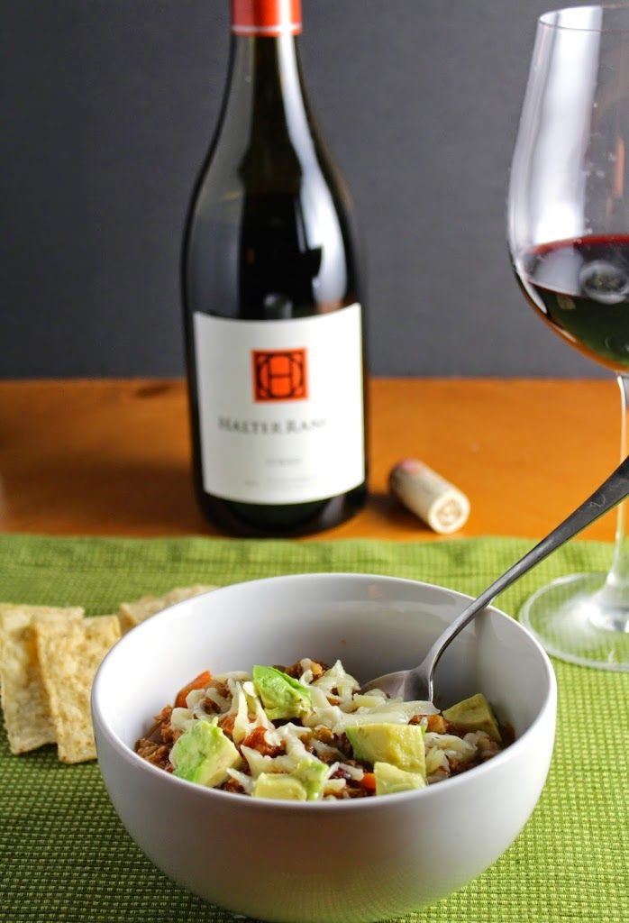 Turkey Chili Topped with Avocado, and served with a Syrah. Yum! Cooking Chat recipe.