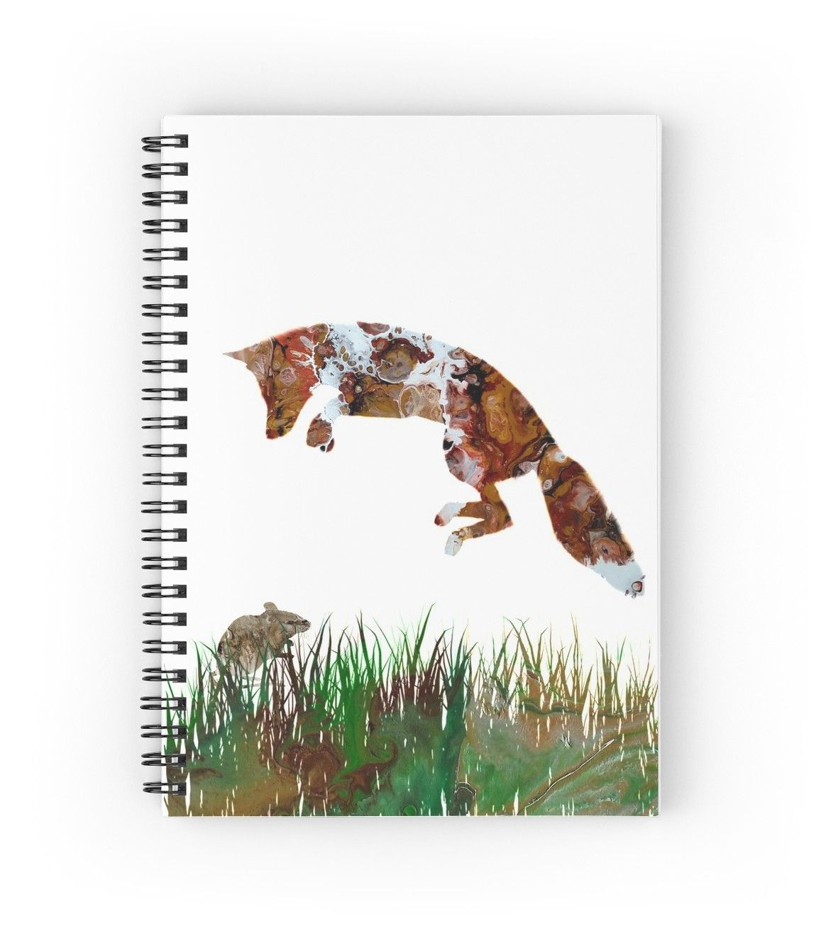 Jumping Hunting Fox And Mouse Abstract Fluid Acrylic Art Spiral Notebook By Colorflowart Acrylic Art Fluid Acrylics Abstract
