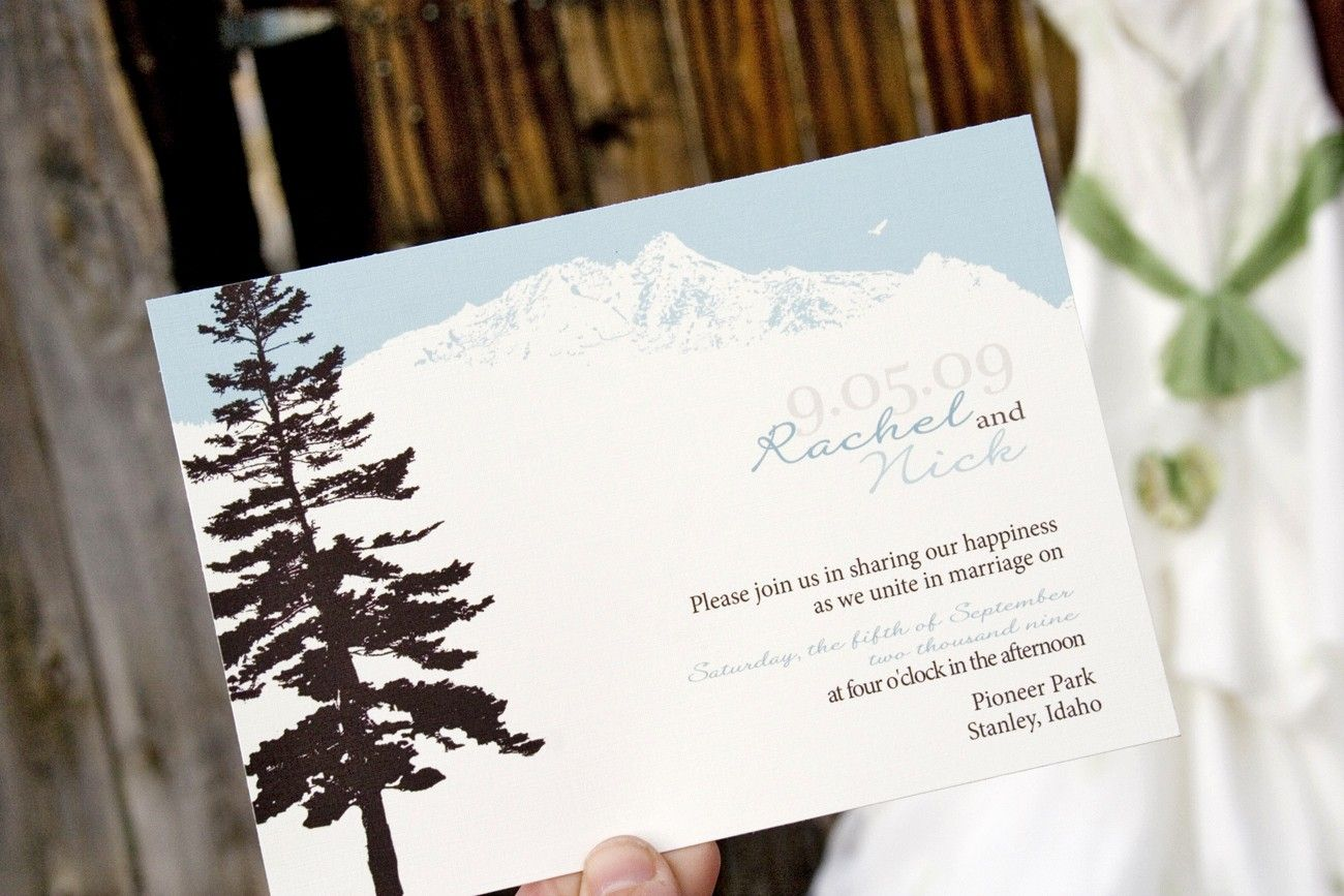 Mountain Wedding Invitation - Featuring Pine Tree and Mountain S ...