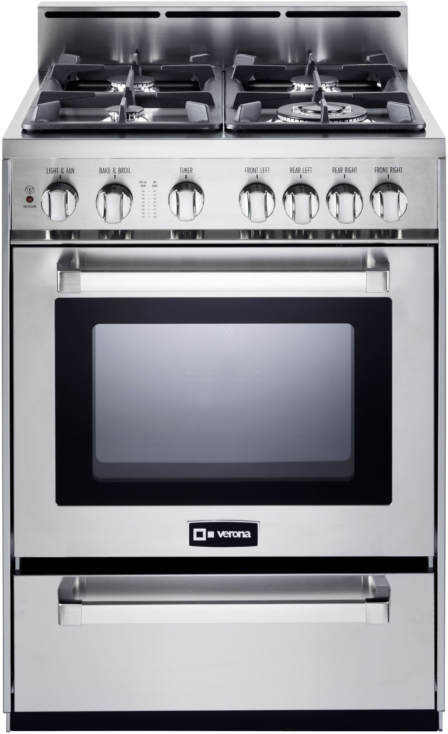Verona Vefsgg244nss 24 Inch Pro Style Gas Range With 2 5 Cu Ft Convection Oven 4 Sealed Burners Infrared Broiler Ez Clean Porcelain Interior 2 Heavy Duty Oven Range Gas Range Convection Oven
