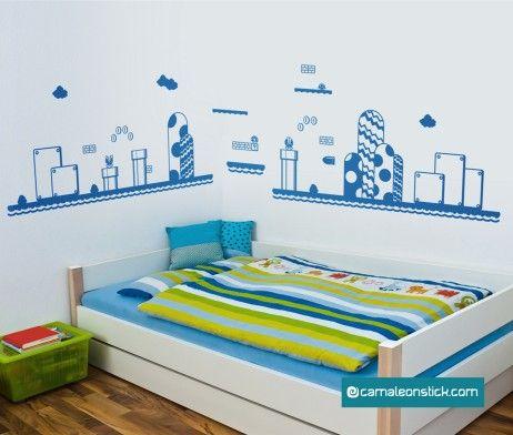 Adesivo murale mario, il super wallstickers del famoso videogioco. Adatto a decorare la cameretta o perfetto per aggiungere un tocco di design al vostro appartamento.  #supermario #wallstickersbambini