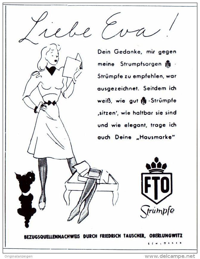 Original-Werbung/ Anzeige 1942 - FTO STRÜMPFE / TAUSCHER - OBERLUNGWITZ - Ca. 50 X 65 Mm - Werbung