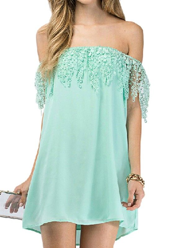 d24a37f6261b Mint Crochet Trimmed Off-The-Shoulder Dress