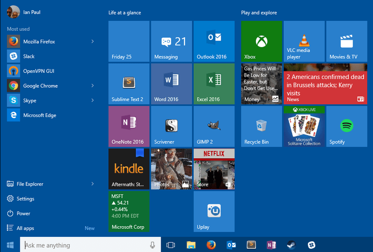 How to Organize the Live Tiles Section of the Windows 10