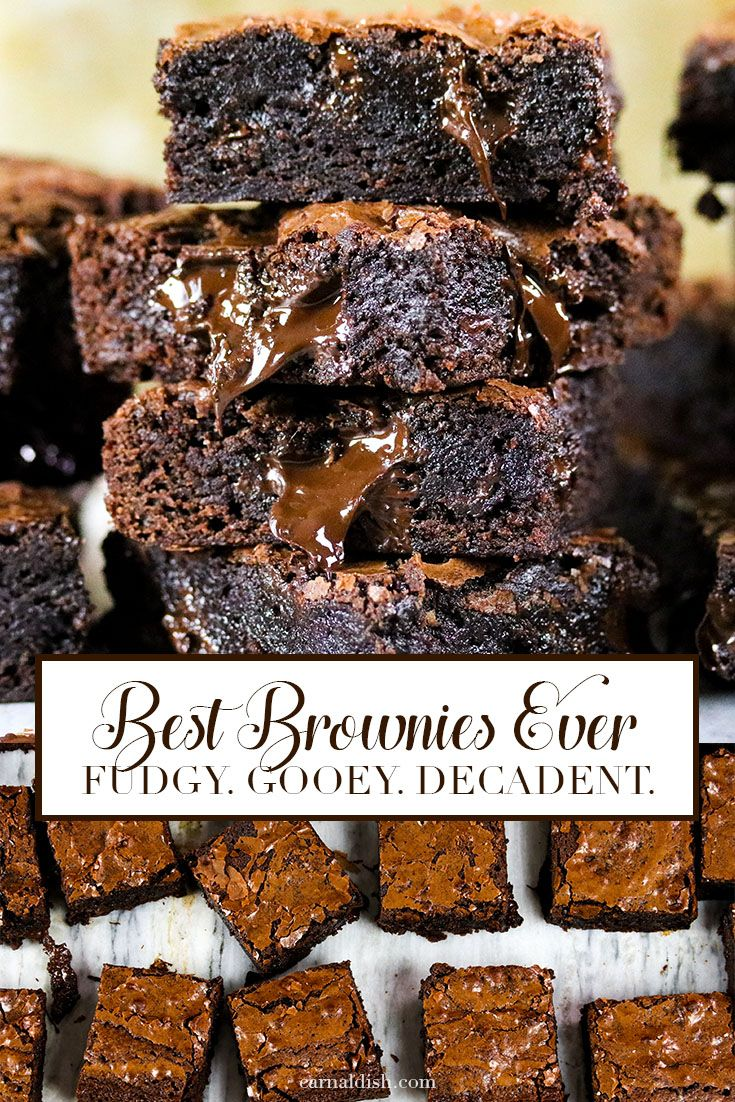 The best brownies EVER! Fudgy, chewy, decadent, rich, addicting, and super gooey. |