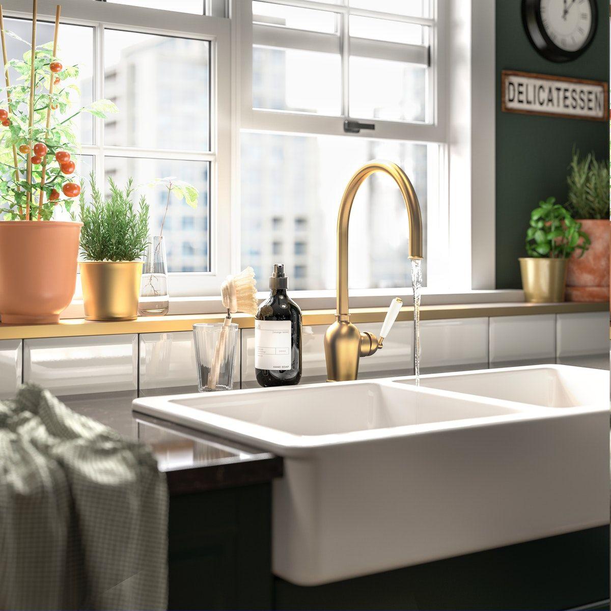 INSJÖN Kitchen mixer tap brasscolour in 2020 Green