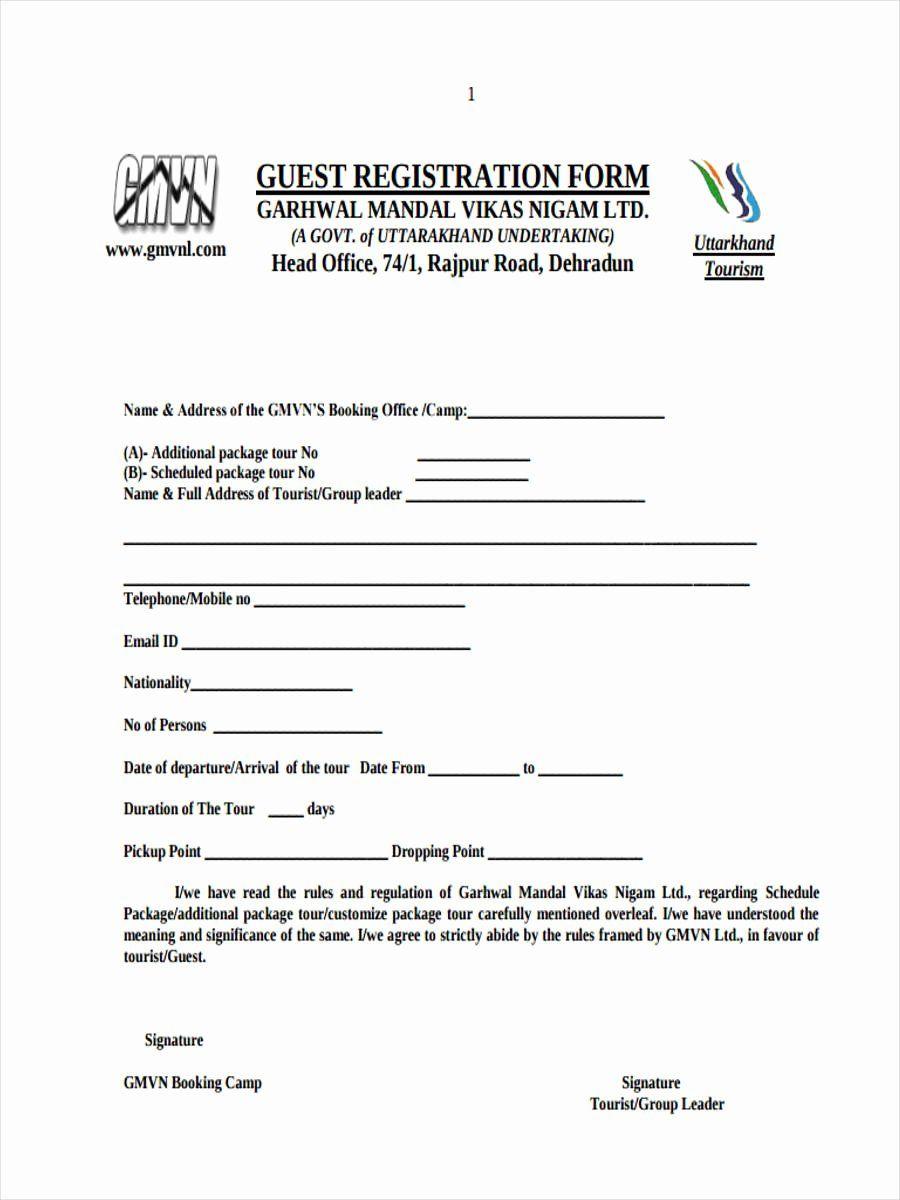 Template For Registration Form Unique 21 Hotel Registration Form Templates Registration Form Word Free Online Registration Form