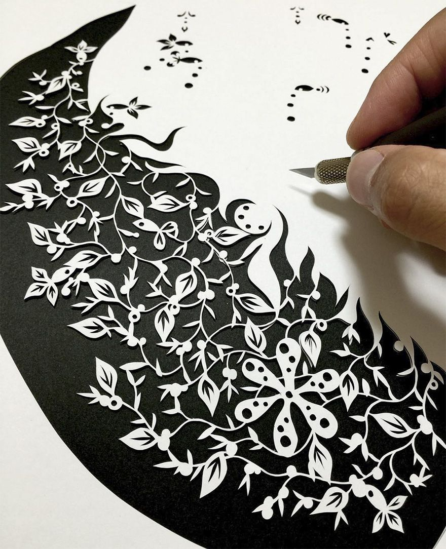 Japanese Artist Hand-Cuts Insanely Detailed Paper Art | Japanese ...
