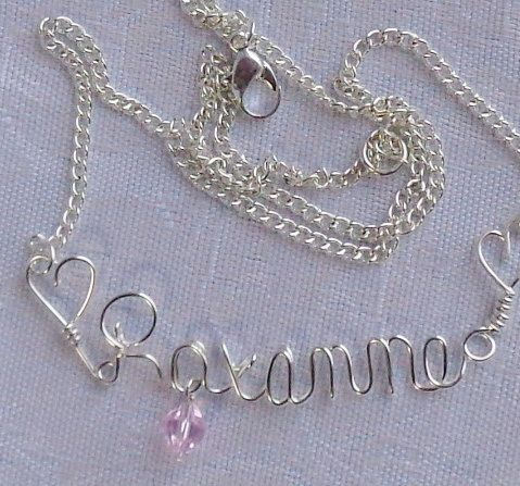 Sterling Silver Wire Name Necklace By Uniquejazzyjewelry