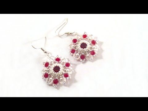 Beading4perfectionists: Red star earring with Swarovski chaton beading tutorial - YouTube