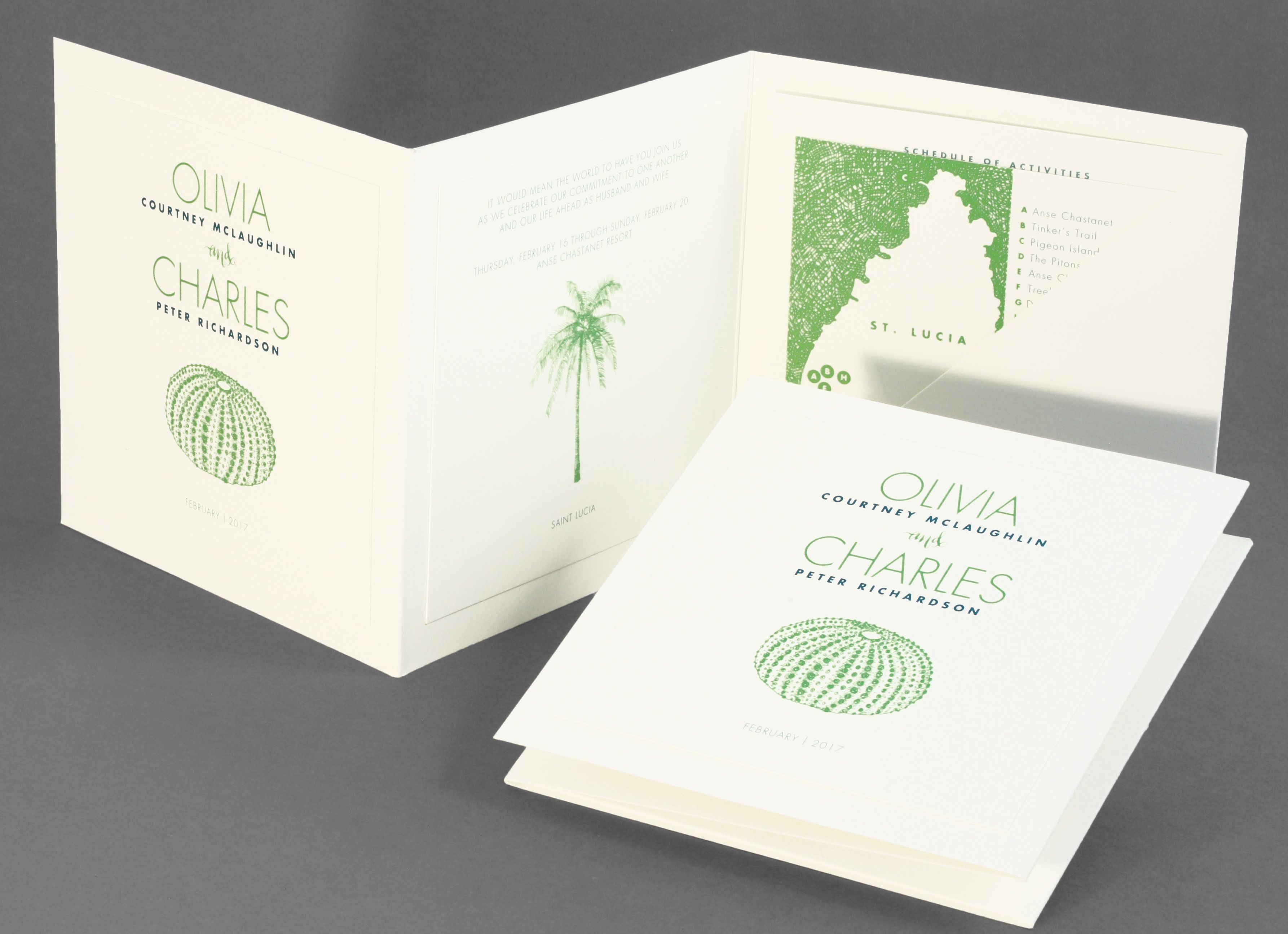 Vera Wang square folder wedding invitation with mounted inserts and ...