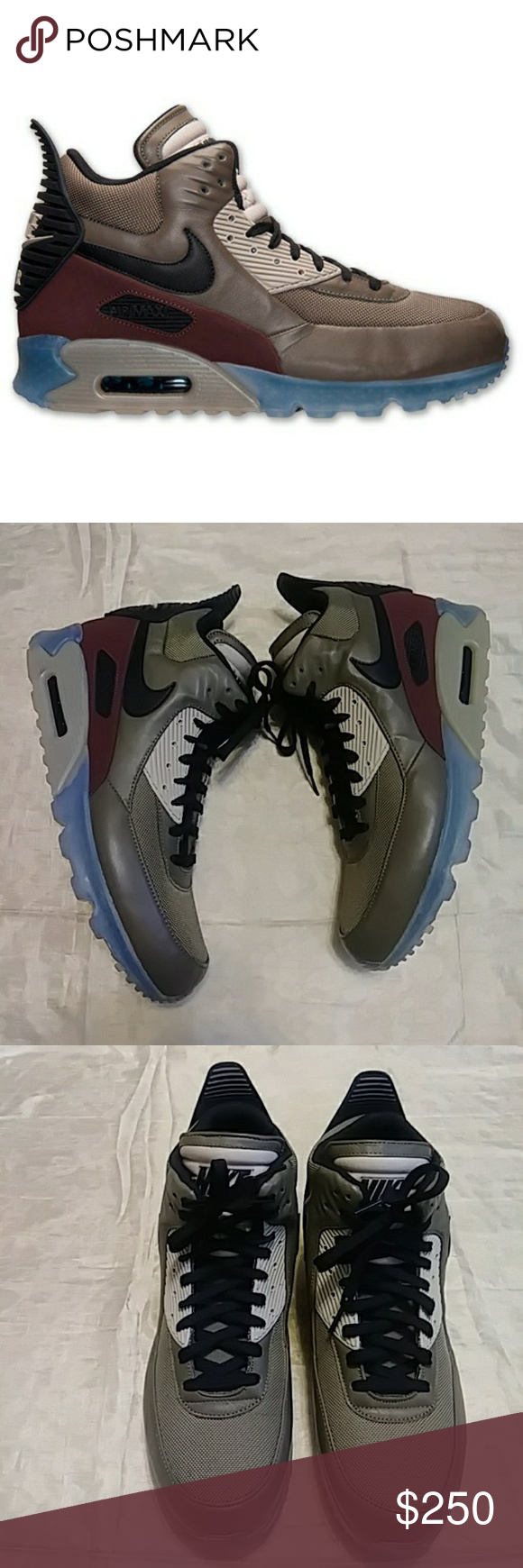 newest df7e5 3aae7 Nike Air Max 90 SneakerBoot Ice Dark Dune Excellent Condition. Like New.  Worn once. Icy Clear Sole. Dark olive green base for its weatherized and  waterproof ...