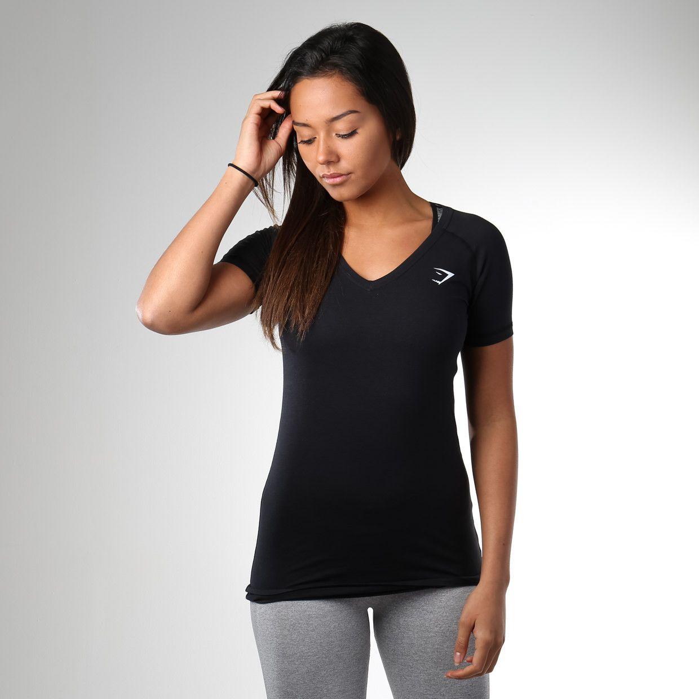 Gymshark Verve T Shirt Black Gym Tops Women Black Shirt Gym Tops