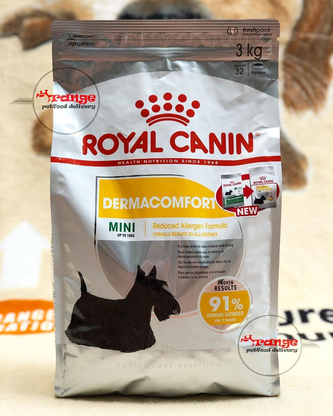 New Packaging Royal Canin Mini Dermacomfort Fresh Pack 3 Kg With Reduced Allergen Formula A Complet Pet Food Delivery Royal Canin Dog Food Dog Food Recipes
